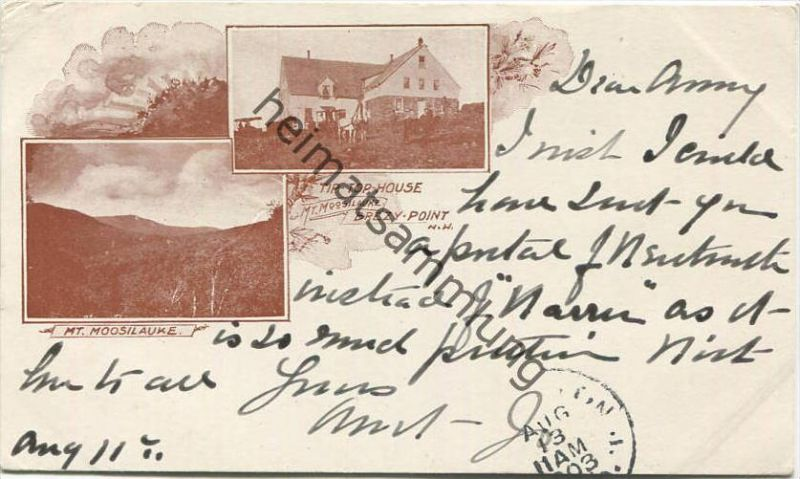 New Hampshire - Mt. Moosilauke - Brezy-Point N. W. - Tip-Top-House - Private Mailing Card gel. 1903