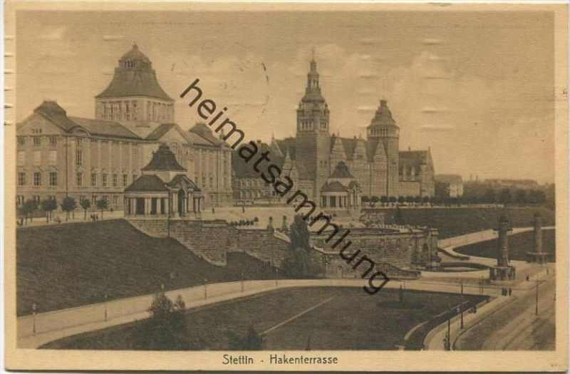Stettin - Hakenterrasse - Verlag Hermann Saran Stettin gel. 1913