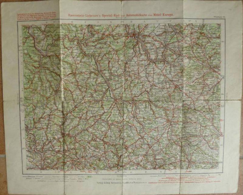 Würzburg 114 - 30cm x 40cm - 1:300'000 - Topographische Karte des Kaiserlichen Automobil Clubs - Radfahrer Bund und Radf