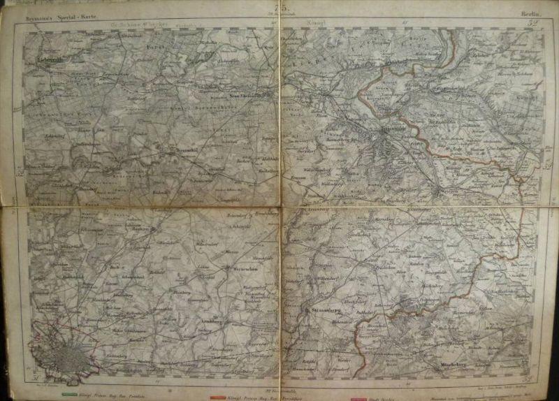 Berlin - Topographische Karte 75 - 26cm x 36cm - Reymann 's Special-Karte - Gez. F. Handtke - Gest. von Heinr. Brose Sch