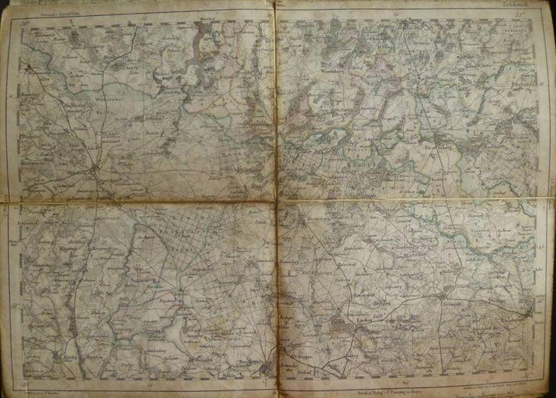 Zehdenick - Topographische Karte 58 - 26cm x 36cm - Reymann 's Special-Karte - Entwurf und gezeichnet F. Handtke - Situa
