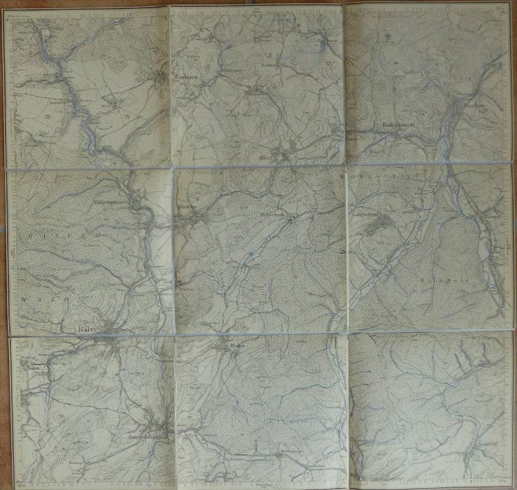 Rödinghausen Balve Hachen Seidfeld - Hönne Sorpe Rohr - Topographische Karte mit leinenverstärkten Falzen 47cm x 49cm