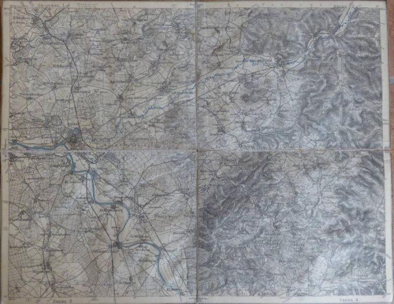 Hanau - Topographische Karte mit leinenverstärkten Falzen 30cm x 38cm