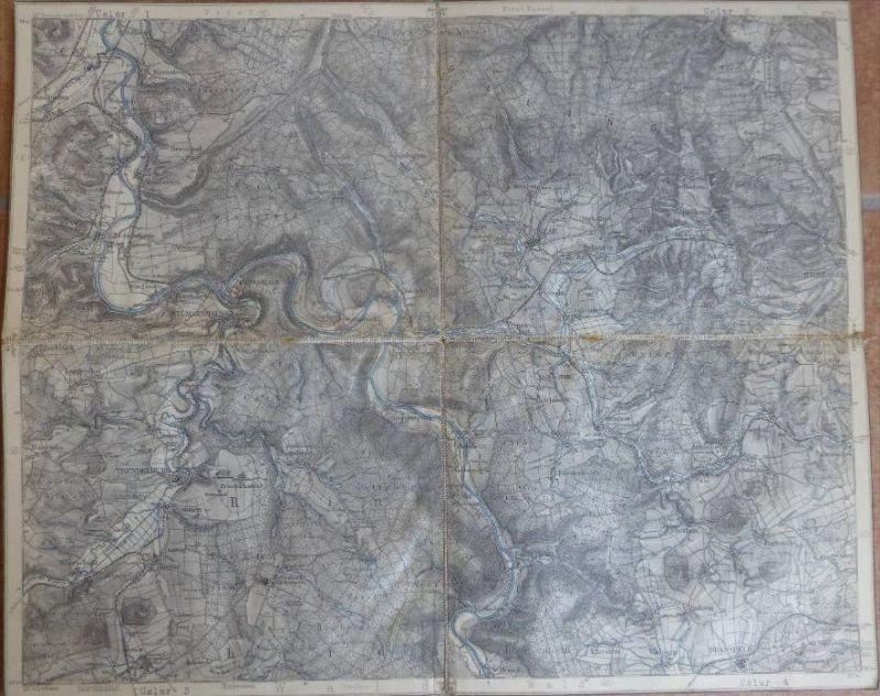 Uslar - Topographische Karte mit leinenverstärkten Falzen 30cm x 36cm