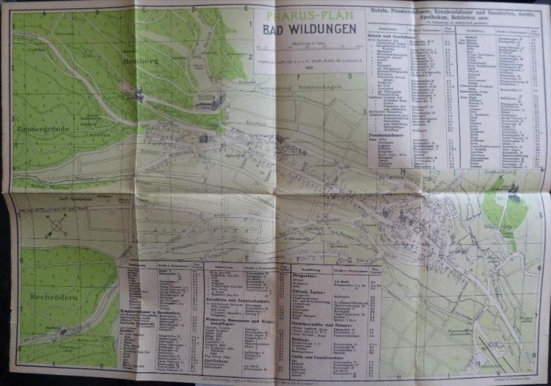 Pharus-Plan Bad Wildungen Maßstab 1:7500 1926 - Urheber Dr. Cornelius Löwe - 30cm x 45cm