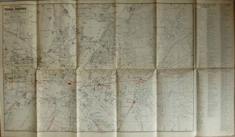 Pharus-Plan - Potsdam und Babelsberg Stand von 1938 - 1:17'000 zweifarbig mit Strassenverzeichnis - Verlag der Potsdamer