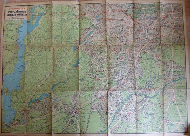 Pharus-Plan West- u. Südwest- Vororte von Berlin 20er Jahre - Maßstab 1:23'100 54cm x 75cm - Lithographie u. Druck des P