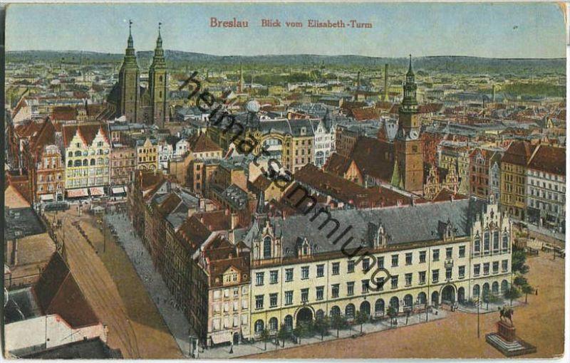 Breslau - Blick vom Elisabeth-Turm - gel. 1921