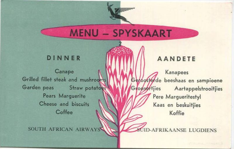 Speisekarte 1963 - South African Airways - Suid Afrikaanse Lugdiens