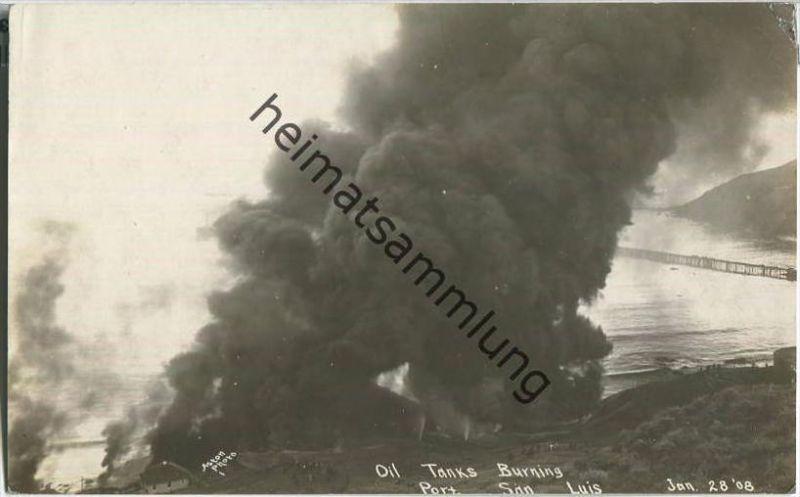 Port San Luis California - Erdöl - Oil Tanks Burning Jan. 28. 1908 - Foto-Ansichtskarte