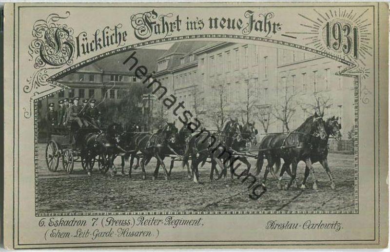 Breslau-Carlowitz - Achtspänner - Pferde - 6. Eskadron 7. Preuss) Reiter-Regiment - Foto-Ansichtskarte 1931