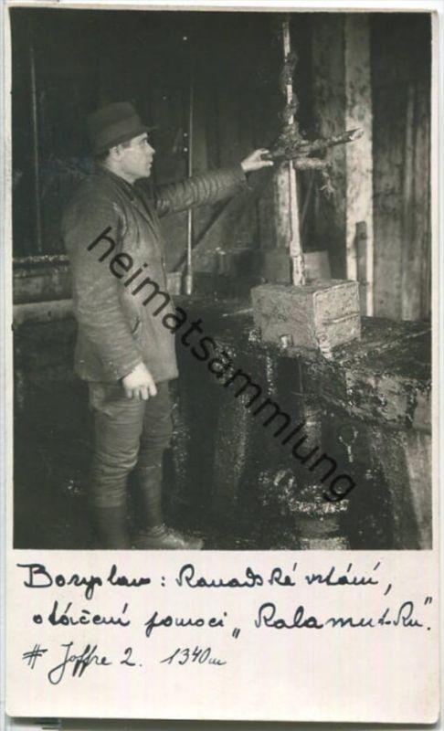 Boryslaw - Erdöl-Arbeiter - Foto-Ansichtskarte - Erdöl - oil