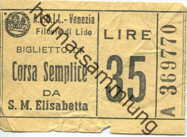 Italen - A.C.N.I.L. - Venezia - Biglietto - Fahrschein - Lire 35 - S. M .Elisabetta
