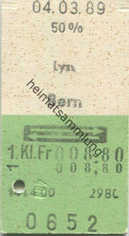 Lyss - Bern und zurück - 1. Klasse 1/2 Preis Fr. 8.80 - Fahrkarte 1989 - rückseitig handschriftlicher Vermerk letztes Bi