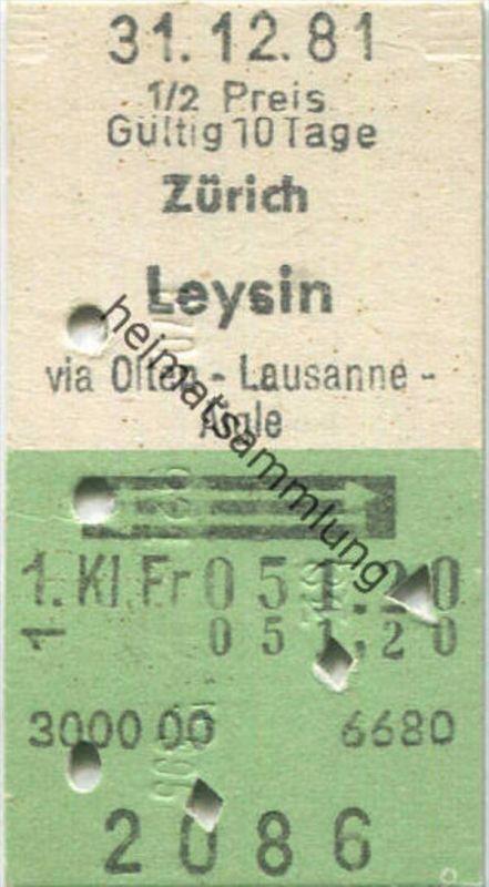 Zürich Leysin und zurück - 1. Klasse 1/2 Preis Fr. 51.20 - Fahrkarte 1981