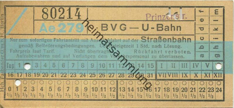 Berlin - BVG - U-Bahn mit Anschlussfahrt auf der Strassenbahn - Prinzenstrasse - Fahrschein