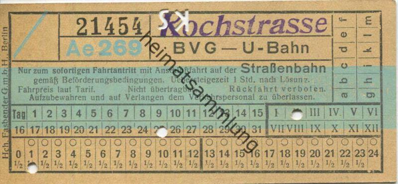 Berlin - BVG - U-Bahn mit Anschlussfahrt auf der Strassenbahn - Kochstrasse - Fahrschein