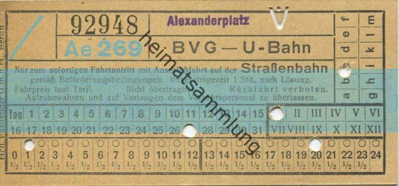 Berlin - BVG - U-Bahn mit Anschlussfahrt auf der Strassenbahn - Alexanderplatz - Fahrschein