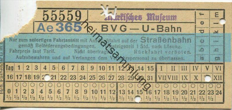 Berlin - BVG - U-Bahn mit Anschlussfahrt auf der Strassenbahn - Märkisches Museum - Fahrschein