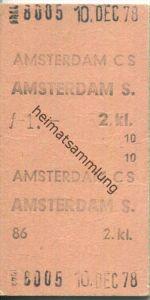 Amsterdam CS Amsterdam S - Fahrkarte 2.kl 1978