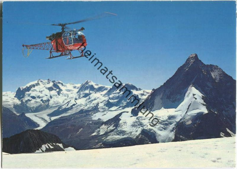Zermatt - Helikopter der Air-Zermatt - Ansichtskarte Großformat