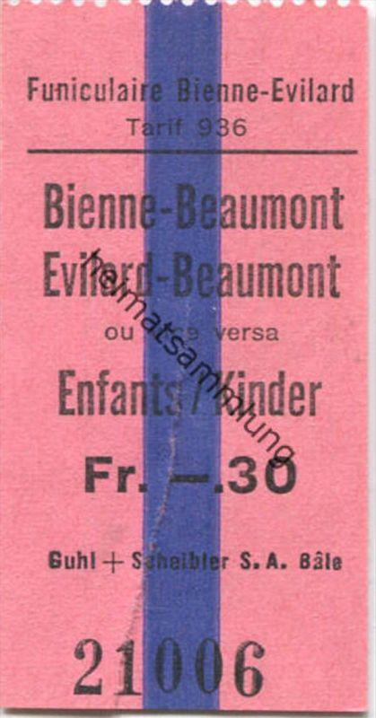 Funiculaire Bienne-Evilard - Bienne-Beaumont Evilard-Beaumont ou vice versa - Kinder Fahrschein Fr. -.30