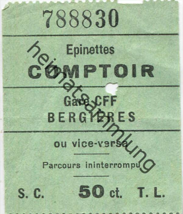 Lausanne - Comptoir Gare CFF Bergieres ou vice-versa 50ct.