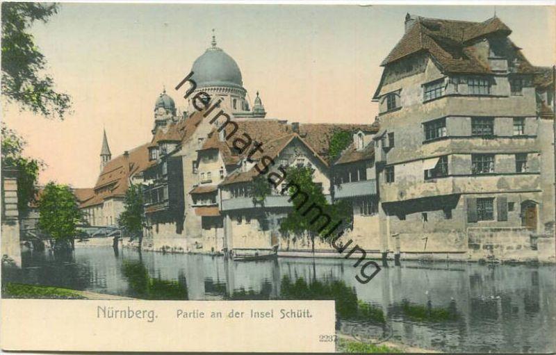 Nürnberg - Partie an der Insel Schütt ca. 1900 - Blick auf die Synagoge