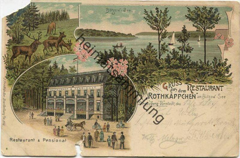 Strausberg-Vorstadt - Gruss aus dem Restaurant Rothkäppchen am Bötzow-See - Restaurant & Pensionat - Verlag J. Friedländ