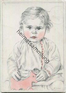 Kind mit Spielzeug - signiert M. Godon