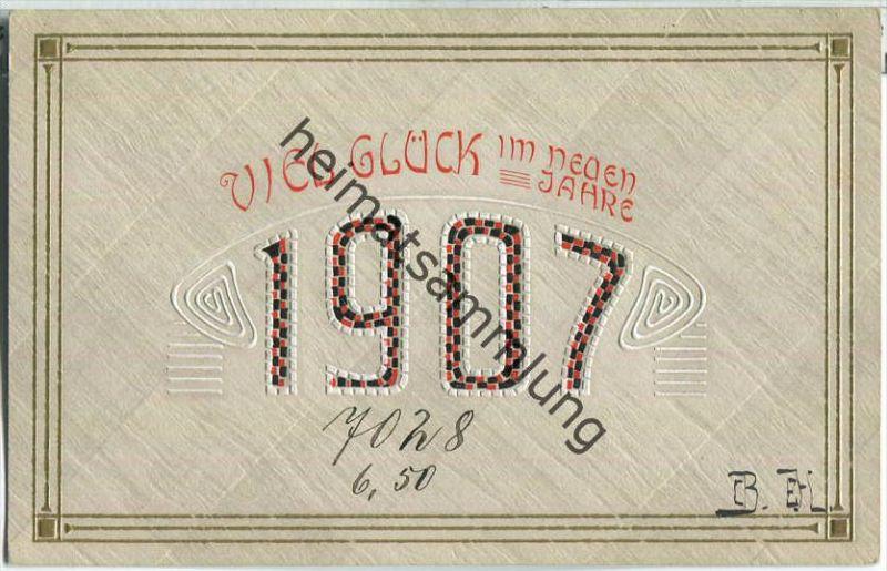 Neujahrskarte 1907 - Rückseite beschrieben - Prägedruck Nr ...