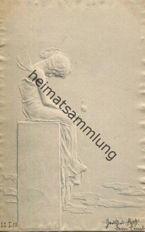 Jugendstil - Art nouveau - Mädchen - Künstlerkarte Kirchner unsigniert - M.M. Vienne - Relief-Rand gel. 1903