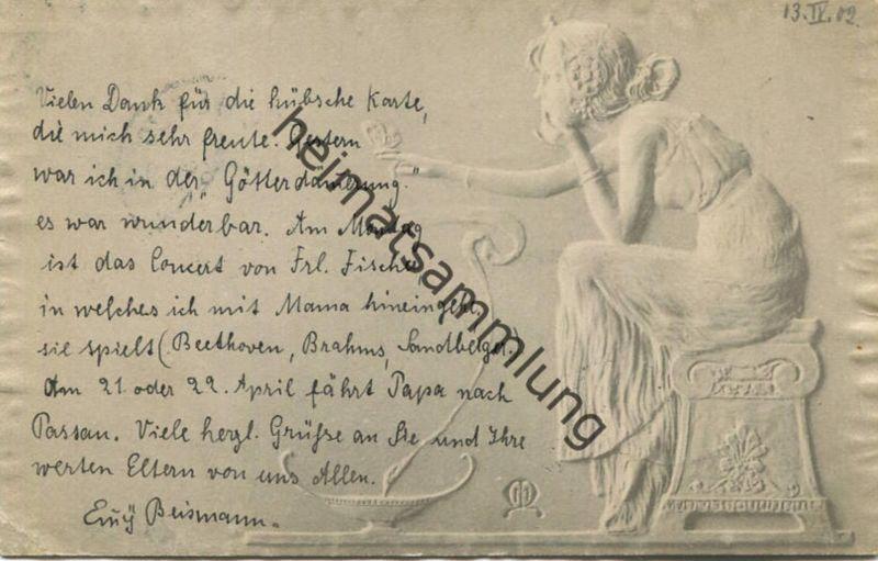 Jugendstil - Art nouveau - Mädchen - Künstlerkarte Kirchner unsigniert - M.M. Vienne - Relief-Rand gel. 1902