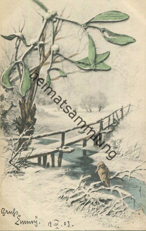 Winterlandschaft - Künstlerkarte signiert Döcker - M.M. Vienne Nr. 117 - beschrieben 1903
