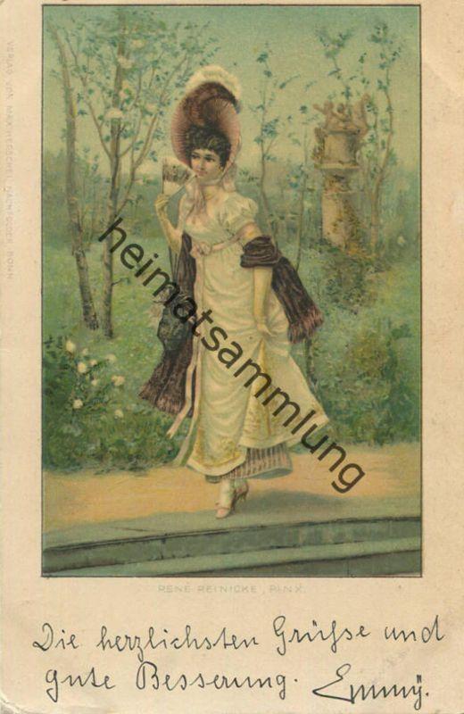 e567a5157ae Junge Frau in Erwartung - Künstlerkarte Rene Reinicke - beschrieben ca. 1900  0