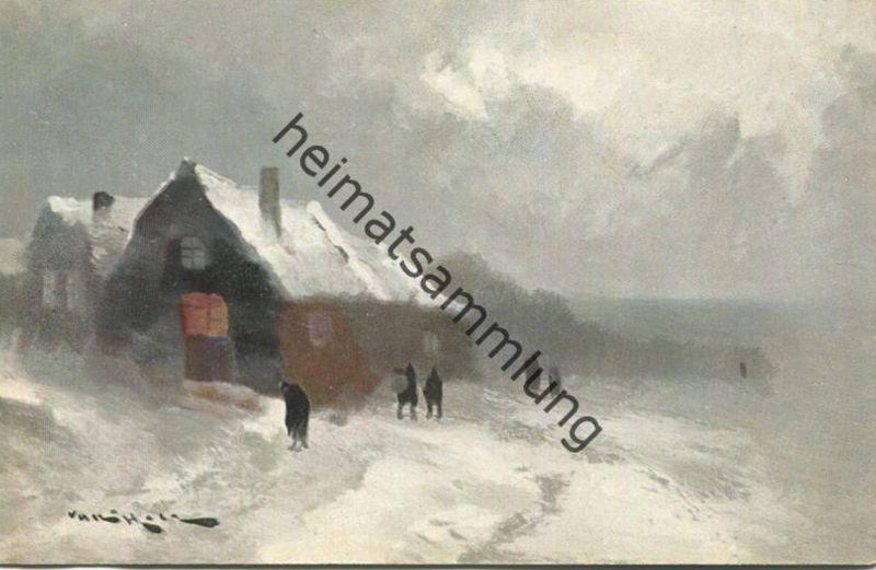 Dorf im Schnee - Künstlerkarte signiert - M. M. Vienne Nr. 197 Rückseite beschrieben 1906