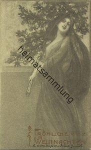 Jugendstil - Art nouveau - Junge Frau mit Tannenbaum gel. 1906