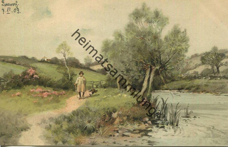 Von Wald und Wiese - Spaziergänger mit Hund - Meissner & Buch Leipzig - Serie 1230 - beschrieben 1903