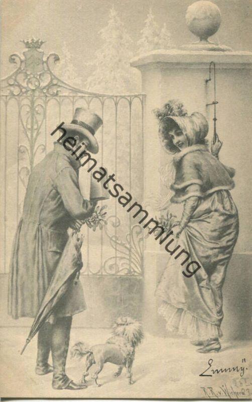 Paar mit Hund - Künstlerkarte signiert R. R. v. Wichera - M.M. Vienne ca. 1900