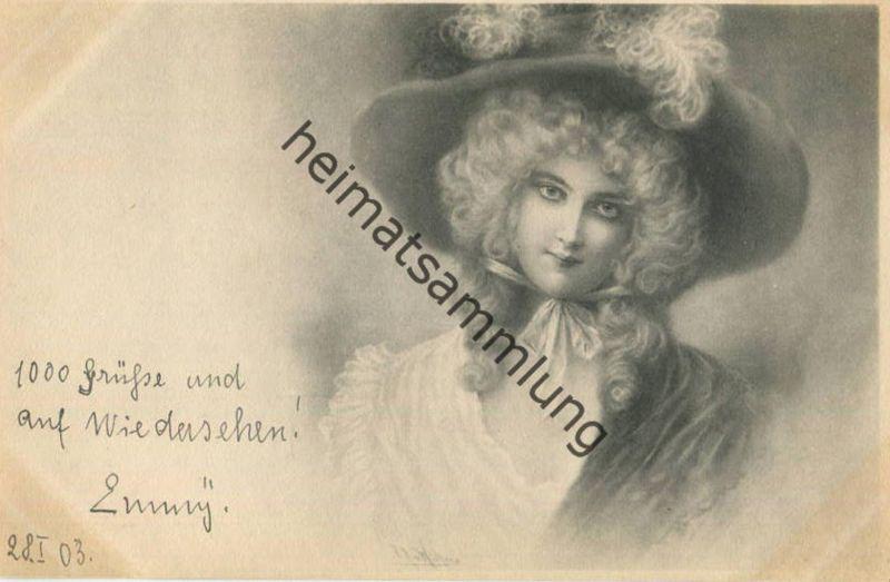 Frau mit Hut - Künstlerkarte signiert R. R. v. Wichera - beschrieben 1903 - M.M. Vienne