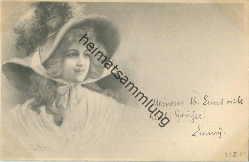 Frau mit Hut - Künstlerkarte signiert R. R. v. Wichera - beschrieben 1903 -  - M.M. Vienne