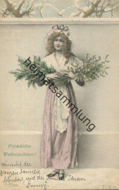 Fröhliche Weihnachten - Künstlerkarte signiert R. R. v. Wichera - M.M. Vienne gel. 1902
