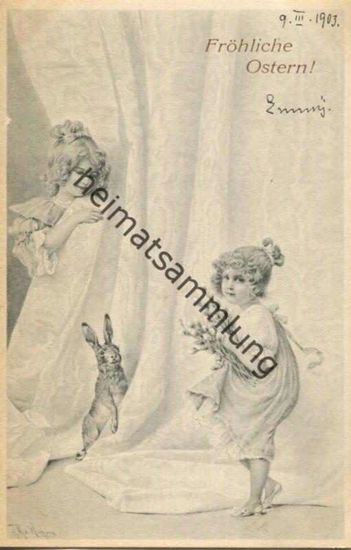 Fröhliche Ostern - Künstlerkarte signiert R. R. v. Wichera - beschrieben 1903 - M.M. Vienne Nr. 138