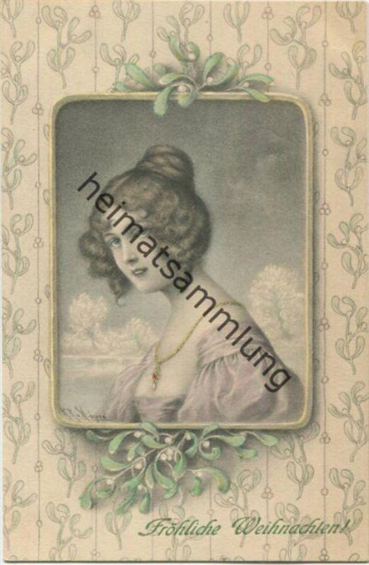 Fröhliche Weihnachten - Künstlerkarte signiert R. R. v. Wichera - M.M. Vienne Nr. 229 - beschrieben