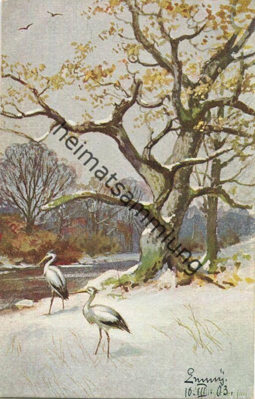 Im Wald - Reiher - Künstlerkarte Splitgerber jun. - Serie 1 - Verlag Hermann Sonntag München - beschrieben 1903