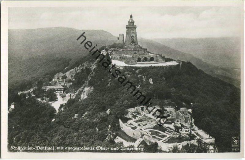 Kyffhäuser Denkmal - Oberburg - Unterburg - Klinke-Luftbild - Foto-Ansichtskarte 30er Jahre