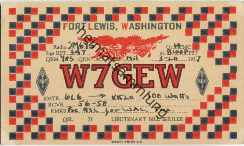 QSL - Radio - W7GEW - USA - Fort Lewis WA - 1937