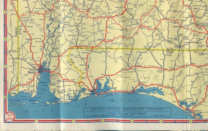 USA - Texaco Road Map 1935 - Alabama Georgia Florida Cuba - 70cm x ...