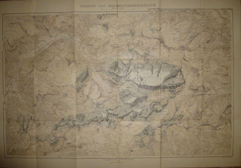 Karte der Marmolatagruppe 1905 - Maßstab 1:25'000 - 65cm x 95cm - Herausgeber Deutscher und österreichischer Alpen Verei