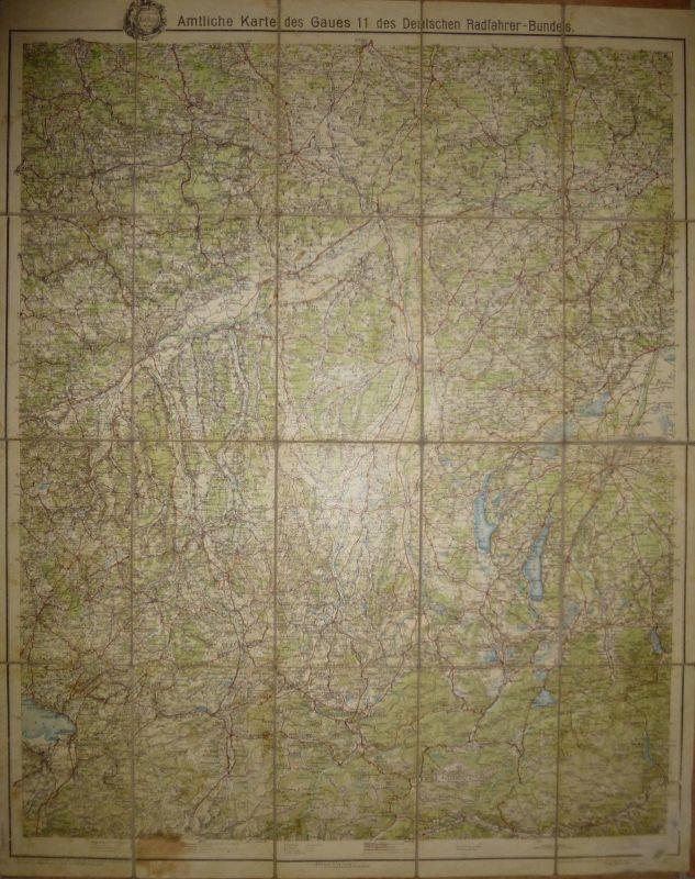 Amtliche Karte des Gaues 11 des Deutschen Radfahrer-Bundes - Württemberg Bayern - Mittelbach Verlag Leipzig - 65cm x 73c